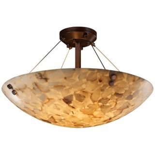 "Alabaster Rocks Dark Bronze 18"" Wide Semiflush Ceiling Light   #K5298"