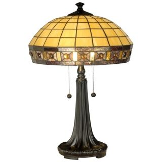 Jewel Square Panel Dale Tiffany Table Lamp   #X2872