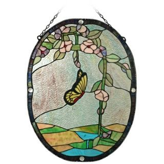 Dale Tiffany Beaded Butterfly Art Glass Window Panel   #X2674