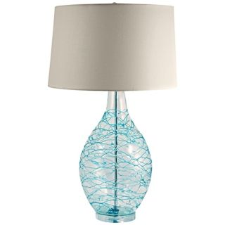 Blue Glass Swirl Over Clear Glass Table Lamp   #V1795