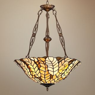 "Tiffany Style Amber Leaf 20"" Wide Art Glass Pendant Light   #W3188"