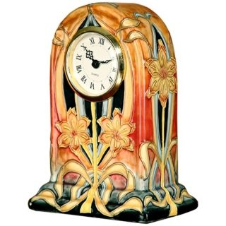 Dale Tiffany Pasque Flower Hand Painted Porcelain Clock   #X5551
