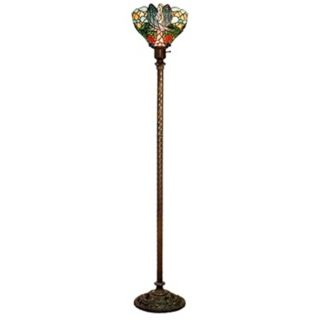 Serenity Tiffany Style Glass Torchiere Floor Lamp   #J7545