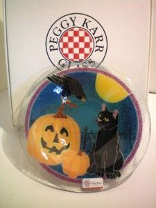 Peggy Karr Fused Glass Halloween Black Cat Pumpkin Bowl