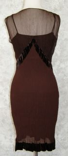 Max Studio Special Edition DK Brown Silk Velvet Burnout Dress XS