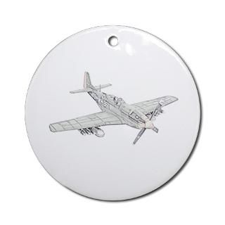 WW2 P 51 Mustang Air Plane Ornament (Round) for $12.50
