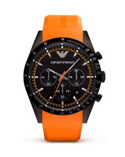 Emporio Armani Orange Rubber Strap Watch, 46mm