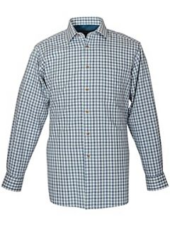 Double TWO King Size Long Sleeve Cotton Check Shirt Teal