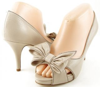 Kate Spade Best Cream Womens Designer Shoes Open Toe Bow Platform
