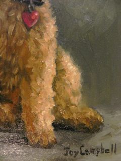 Original Airedale Puppy Dog Red Heart Collar Joy Campbell Oil Painting