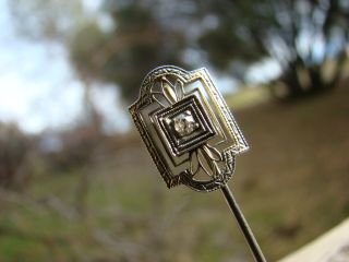 Classic Antique 10K Gold White Art Deco French Nouveau Etched Diamond