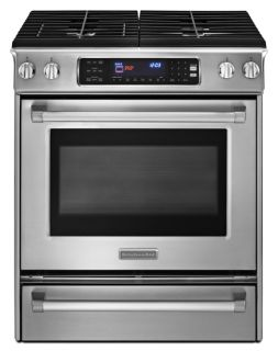 KitchenAid Pro Line Series KGSS907XSP 30 Slide in Gas Range with 4