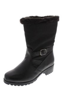 Khombu New Mardi Gras Black Faux Fur Lined Waterproof Snow Boots Shoes