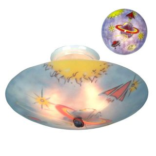 Landmark Childrens Glow in The Dark 3 Light Semi Flush Ceiling