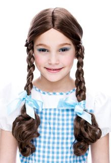 Kids Dorothy Girl Wizard of oz Costume Brown Braids Wig