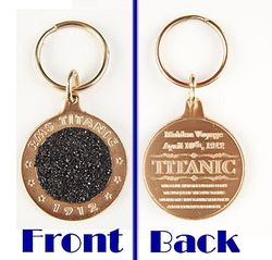 Authentic Real Titanic Coal Relic Bronze Metal Key Chain from The