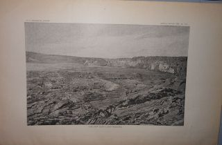 Original 1883 View Kilauea From Volcano House Hand Colored & Lava Lake