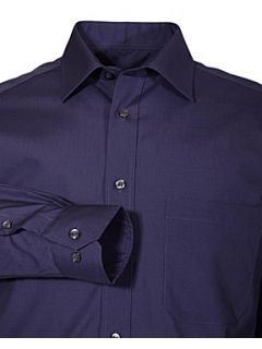 Double TWO Non iron poplin long sleeve shirt Navy