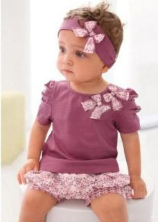 3pcs Free Kid Child Baby Girl Infant Top Pant Headband Set Outfit