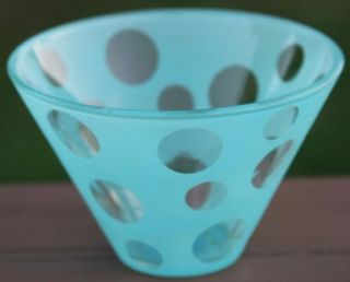 Turquoise Polka Dot Spot Glass Olive Bowl Bar Ware Kitchen