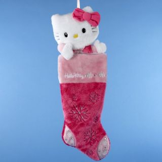 Pink Plush Hello Kitty Head Christmas Stocking New Large Stocking