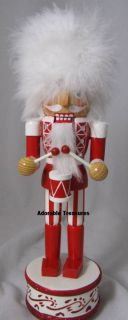 KURT ADLER WOODEN RED/WHITE MUSICAL NUTCRACKER W/DRUMS