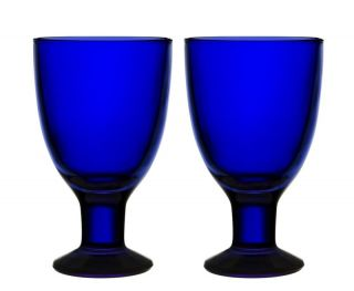 Iittala Verna Wine Glasses 2 Cobalt Blue Excellent Condition