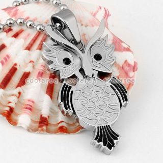 Stainless Steel Owl Pendant Ball Chain Necklace Jewelry 20L