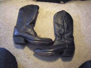 Mens Tony Lama Western Cowboy Black Leather Boots 9 D