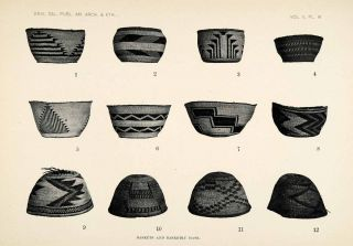 1910 Print Baskets Hats Kato Cahto Tribe Native American Tule Basket