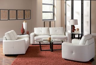 Jasmine Collection Sofa White Leather Super Soft Contemporary New