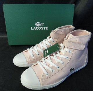 Lacoste Lewes Womens Girls Shoes Light Pink White Lace Up Fashion