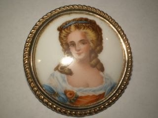 Vint Woman Limoges Sign France Cameo Brooch Pin Pendant