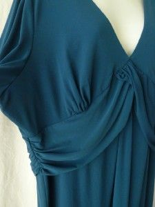 Laundry Shelli Segal Slinky Aegean Blue Ruched VNeck Empire Dress Plus