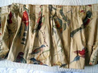 Antique French Pair Curtains Cotton Silk and Valance Birds
