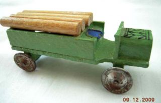 Ant Wooden Logging Toy Truck Metal Wheels German Wagon