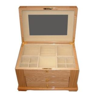 New Large Locking Wooden Jewelry Box Chest w Drawers