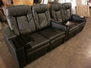Row of 4 Seats Dual Loveseats Home Theater Seating Chairs