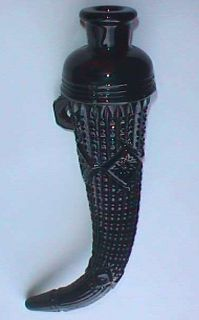 Original Beautiful Black Amethyst Glass Auto Vase Powder Horn