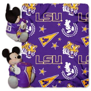 Disney LSU Tigers Mickey Mouse Plush Blanket Set 40x50 Fleece Throw