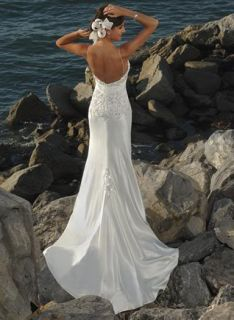 Sexy Lace Beads Satin Low Cut Bridal Wedding Dress Gown