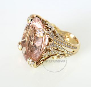 Dior 18K Yellow Gold Diamond Morganite Cocktail Ring