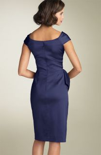 Maggy London Blue Stretch Satin Sheath Cocktail Dress 4