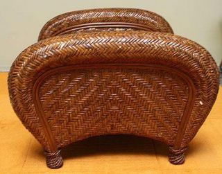 Pottery Barn Wicker Rattan Malabar Footstool Ottoman Modern Foot Stool