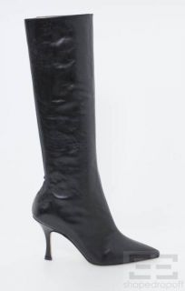 Manolo Blahnik Black Leather Stretch Inset Pointed Toe Boots Size 35