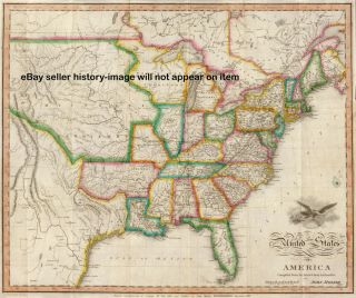 1822 Huge Pre Civil War Map United States US Wall Map