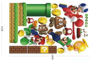 Removable Wall Sticker Super Mario Bros Kids Boy Nursery Room Decor