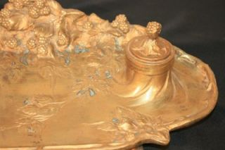 Antique French Art Nouveau Gilt Bronze Inkwell Signed A. Marionnet