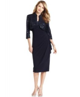 Alex Evenings Petite Dress and Jacket, Sleeveless Sequin Ruffled