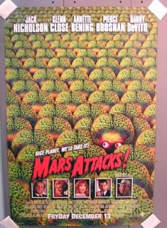MARS ATTACKS Tim Burton ONE SHEET MOVIE POSTER, approx. 27 x 40 inches